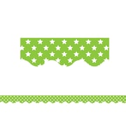 "Teacher Created Resources 35' x 2.25"" Lime with White Stars Scalloped Border Trim (TCR5811)"