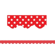 "Teacher Created Resources 35"" x 2.18"" Red with White Stars Scalloped Border Trim (TCR5809)"