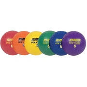 "Champion Sports Rubber 6"" Playground Ball. Assorted Colors, Set of 6 (CHSPX6SET)"