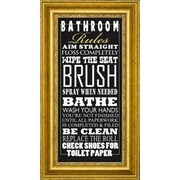 CanvasArtUSA 'Bathroom Rules' by Jim Baldwin Framed Textual Art; 36'' H x 19'' W x 1.25'' D