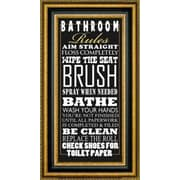 CanvasArtUSA 'Bathroom Rules' by Jim Baldwin Framed Textual Art; 28.5'' H x 16.5'' W x 1.25'' D