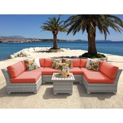 TK Classics Fairmont 7 Piece Deep Seating Group w/ Cushion; Tangerine