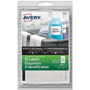 Avery® - Étiquettes auto-plastifiant (00746), bord gris, 3 3/4 po x 2 3/4 po, paq./8