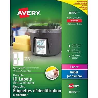 Avery® Easy Align White Self-Laminating Labels, 3 1/2