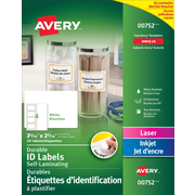 """Avery® Easy Align White Self-Laminating Labels, 3 5/16 """" x 2 5/16"""", 20/Pack, (00752)"""