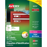 """Avery® Easy Align White Self-Laminating Labels, 3 1/2"""" x 1 1/32"""" , 50/Pack, (00753)"""
