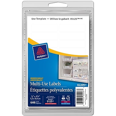 Avery® White Print or Write Removable Rectangular Multiuse Labels, 1/2