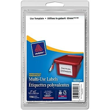 Avery® - Étiquettes blanches rectangulaires à usages multiples, nº 2225, 4 po x 2 po, paq./114