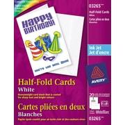 "Avery® InkJet Half-Fold Greeting Cards, White, 5-1/2"" x 8-1/2"", 20/Pack (03265)"