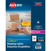 "Avery® TrueBlock™ White Laser Shipping Labels, 4"" x 2"", 1,000/Pack, (5163)"