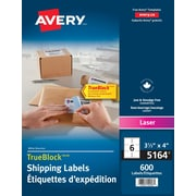 "Avery® TrueBlock™ White Laser Shipping Labels, 4"" x 3 1/3"", 600/Pack, (5164)"