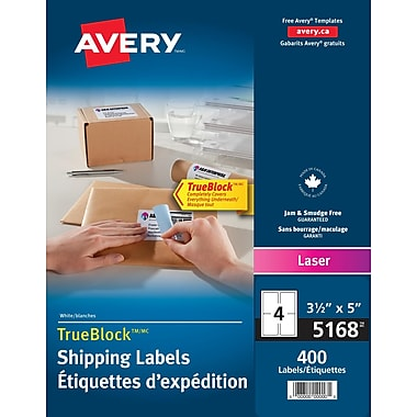 Avery® TrueBlock™ White Laser Shipping Labels, 5