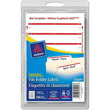 Avery® Red Border Permanent File Folder Labels, 3-1/2