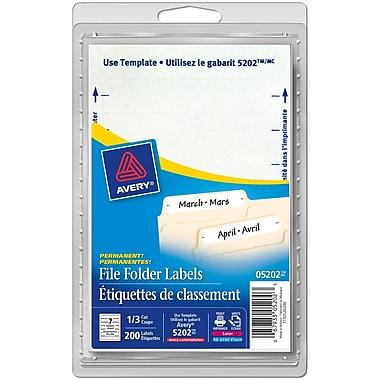 Avery® White Laser/Inkjet Permanent File Folder Labels, 3-1/2