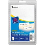 "Avery® White File Folder Labels, 3-1/2"" x 1-1/8"", 200/Pack, (05217)"