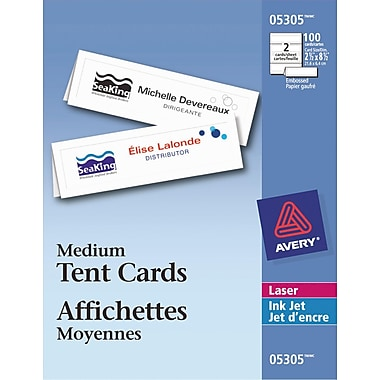 Avery® White Laser/Inkjet Printable Medium Tent Cards, 2-1/2