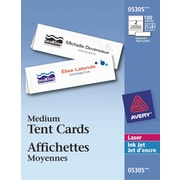 "Avery® White Laser/Inkjet Printable Medium Tent Cards, 2-1/2"" x 8-1/2"", 100/pack, (05305)"