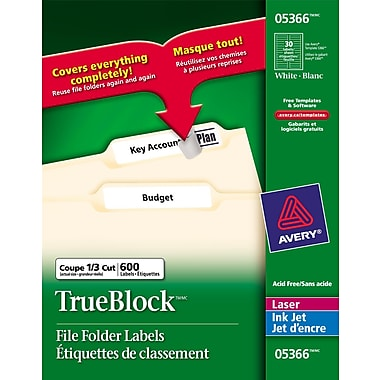 Avery® TrueBlock™ White Laser/Inkjet File Folder Labels, 3-7/16