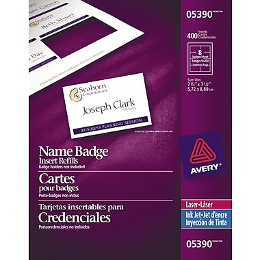 Avery® White Laser/Inkjet Name Tag Insert Refill Cards, 3-1/2
