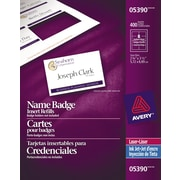 "Avery® White Laser/Inkjet Name Tag Insert Refill Cards, 3-1/2"" x 2-1/4"", 400/Pack, (05390)"