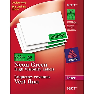 Avery® Neon Green Laser High Visibility Labels, 2-5/8