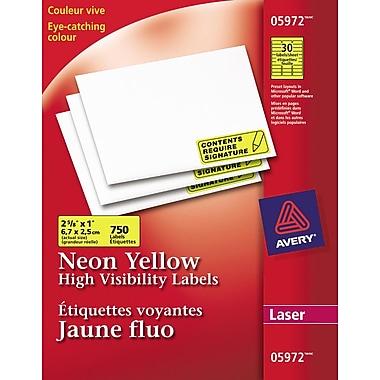 Avery® 5972 Étiquettes voyantes, jaune fluo, laser, 2-5/8