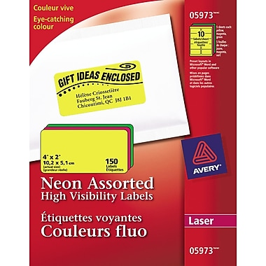 Avery® 5973 Étiquettes voyantes, couleurs fluo variées, laser, 4