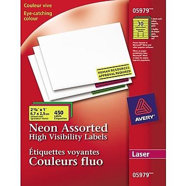 Avery® – Étiquettes voyantes couleurs fluo assorties, laser, 2 5/8 po x 1 po, paq./450 (05979)