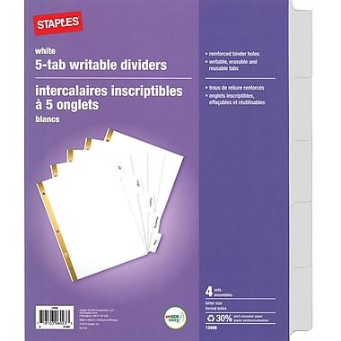 Staples® - Séparateurs à onglets blancs effaçables, 4 ens. de 5 onglets