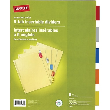 Staples® 5-Tab Insertable Dividers, Multicolour