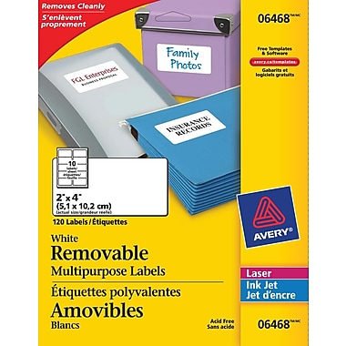 Avery® White Laser/Inkjet Removable Multipurpose Labels, 2