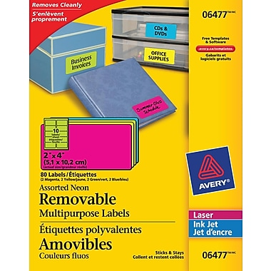 Avery® Assorted Neon Laser/Inkjet Removable Multipurpose Labels, 2