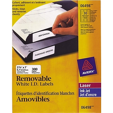 Avery® White Laser/Inkjet Removable Address Label, 2-5/8