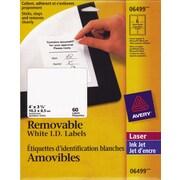 """Avery® 6499 Étiquettes d'adresse amovibles, blanches, laser/jet d'encre, 4"""" x 3-1/3"""", 60/pqt"""