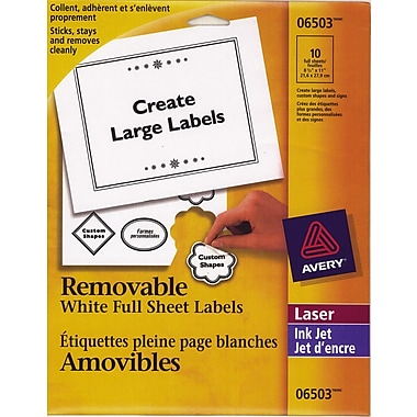 Avery® White Laser/Inkjet Removable Labels, 8-1/2