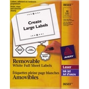 """Avery® White Laser/Inkjet Removable Labels, 8-1/2"""" x 11"""", 10/Pack, (06503)"""