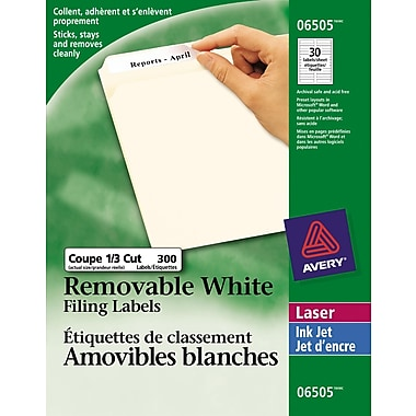 Avery® White Laser/Inkjet Removable Filing Labels, 3-7/16