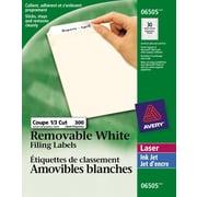 "Avery® White Laser/Inkjet Removable Filing Labels, 3-7/16"" x 2/3"", 300/Pack, (06505)"