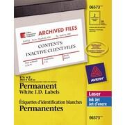 """Avery® White Laser/Inkjet Permanent I.D. Labels, 5"""" x 8 1/8"""", 30/Pack, (06573)"""