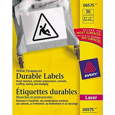 Avery® White Laser Durable I.D. Labels, 8-1/2