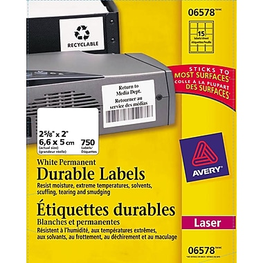 Avery® White Laser Durable I.D. Labels, 2-5/8