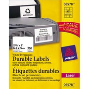 """Avery® White Laser Durable I.D. Labels, 2-5/8"""" x 2"""", 750/Pack, (06578)"""