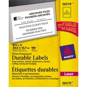 """Avery® White Laser Durable I.D. Labels, 8-1/8"""" x 5"""", 100/Pack, (06579)"""