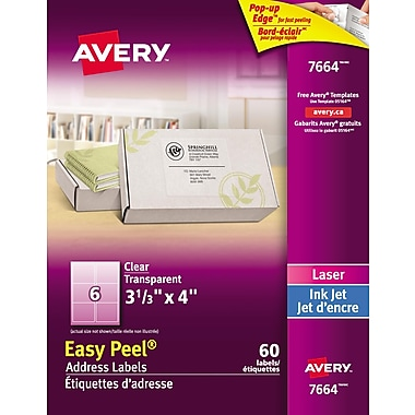 Avery® - Étiquettes d'adresses Easy Peel® laser/jet d'encre, incolores lustrées, 3 1/3 po x 4 po, paq./60 (7664)