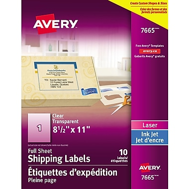 Avery® Easy Peel® Clear Glossy Laser/Inkjet Shipping Labels, 8-1/2