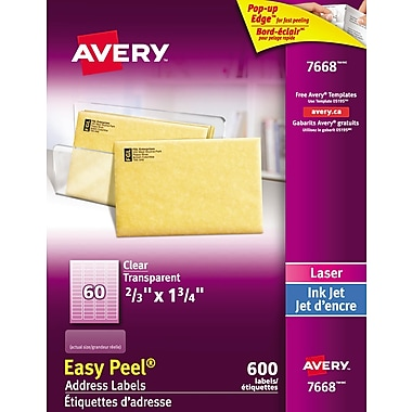 Avery® Easy Peel® Clear Glossy Laser/Inkjet Address Labels, 2/3