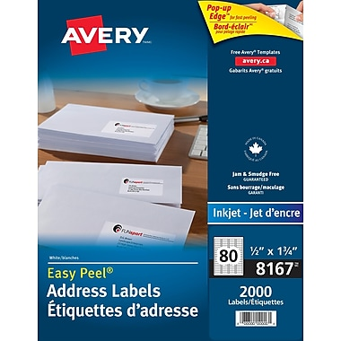 Avery® 8167 Étiquettes d'adresse de retour jet d'encre Easy Peel, blanches, 1-3/4