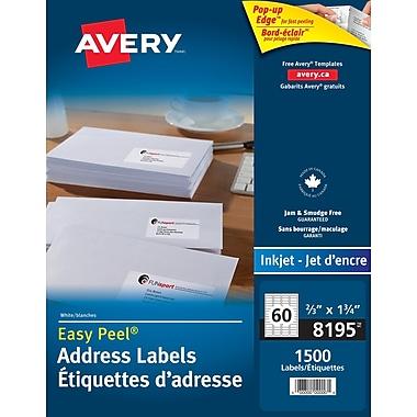 Avery® Easy Peel® White Inkjet Return Address Labels, 1-3/4