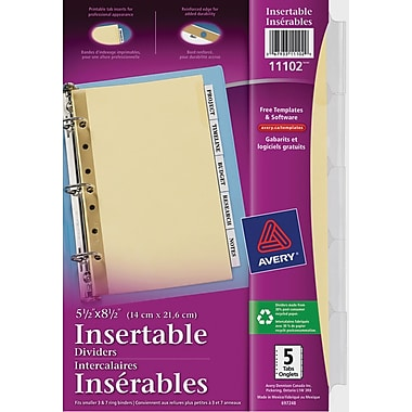 Avery® Insertable Dividers for Laser and Inkjet Printers, 5-1/2