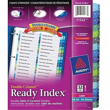 Avery® Ready Index® Double Column Table of Content Dividers for Laser and Inkjet Printers, 32 Tabs, Multi-colour, (11322)